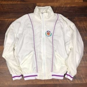VTG Reebok CREST White Purple Windbreaker Full zip